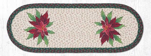 "Capitol Earth Rugs Poinsettia Printed Table Runner, 13"" x 36"" Oval"