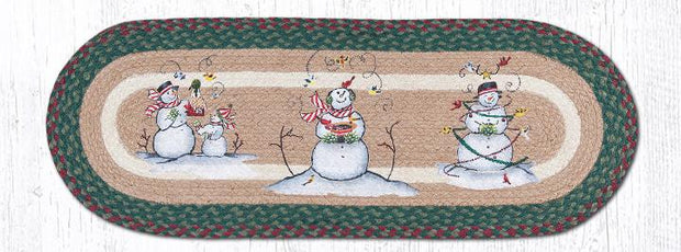 "Capitol Earth Rugs Snowman Printed Table Runner, 13"" x 36"" Oval"
