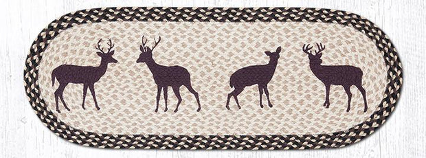 "Capitol Earth Rugs Deer Silhouette Printed Table Runner, 13"" x 36"" Oval"