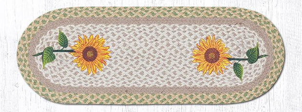 "Capitol Earth Rugs Tall Sunflowers Printed Table Runner, 13"" x 36"" Oval"