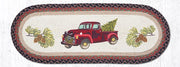 "Capitol Earth Rugs Christmas Truck Printed Table Runner, 13"" x 36"" Oval"
