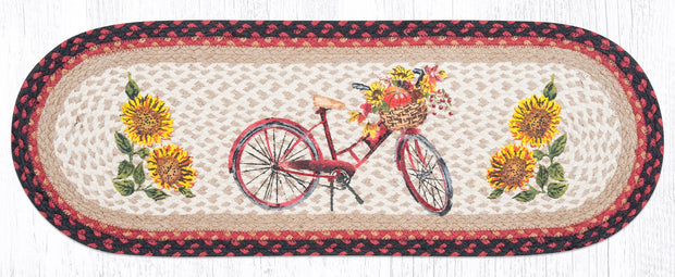 "Capitol Earth Rugs Red Bicycle Printed Table Runner, 13"" x 36"" Oval"