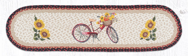 "Capitol Earth Rugs Red Bicycle Printed Table Runner, 13"" x 48"" Oval"