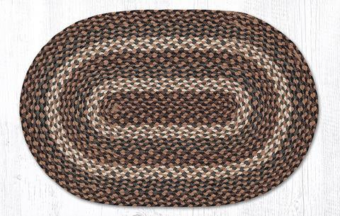 "Capitol Earth Rugs Tan Traditional Braided Rug, Oval 20"" x 30"""