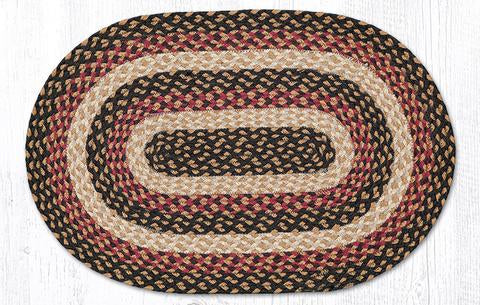 "Capitol Earth Rugs Burgundy/Black/Dijon Traditional Braided Rug, Oval 20"" x 30"""