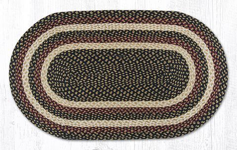 "Capitol Earth Rugs Burgundy/Black/Dijon Traditional Braided Rug, Oval 27"" x 45"""