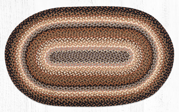 "Black/Tan/Terracotta Traditional Braided Rugs - Oval 27"" x 45"""