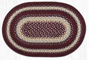 "Burgundy/Grey/Cream Traditional Braided Rugs - Oval 20"" x 30"""