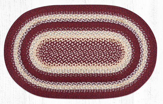 "Burgundy/Grey/Cream Traditional Braided Rugs - Oval 27"" x 45"""