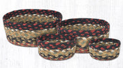Capitol Earth Rugs Jute Braided Casserole Baskets, set of 4 - Burgundy/Mustard