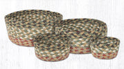 Capitol Earth Rugs Jute Braided Casserole Baskets, set of 4 - Olive/Burgundy/Grey