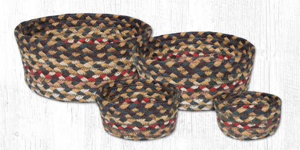 Capitol Earth Rugs Jute Braided Casserole Baskets, set of 4 - Fir/Ivory