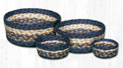 Capitol Earth Rugs Jute Braided Casserole Baskets, set of 4 - Light & Dark Blue/Mustard
