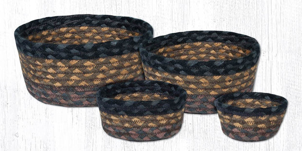 Capitol Earth Rugs Jute Braided Casserole Baskets, set of 4 - Brown/Black/Charcoal