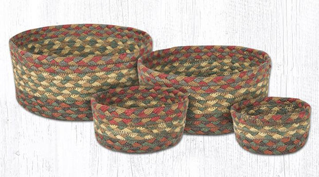 Capitol Earth Rugs Jute Braided Casserole Baskets, set of 4 - Honey/Vanilla/Ginger