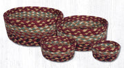 Capitol Earth Rugs Jute Braided Casserole Baskets, set of 4 - Burgundy/Grey/Cream