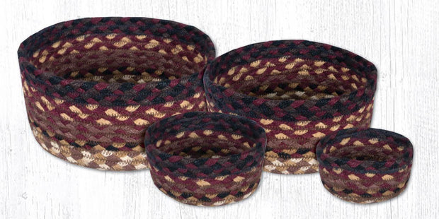 Capitol Earth Rugs Jute Braided Casserole Baskets, set of 4 - Black Cherry/Chocolate/Cream