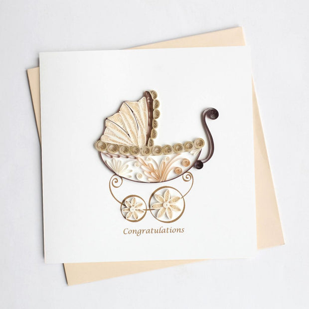 Baby Shower Carriage Quilling Card