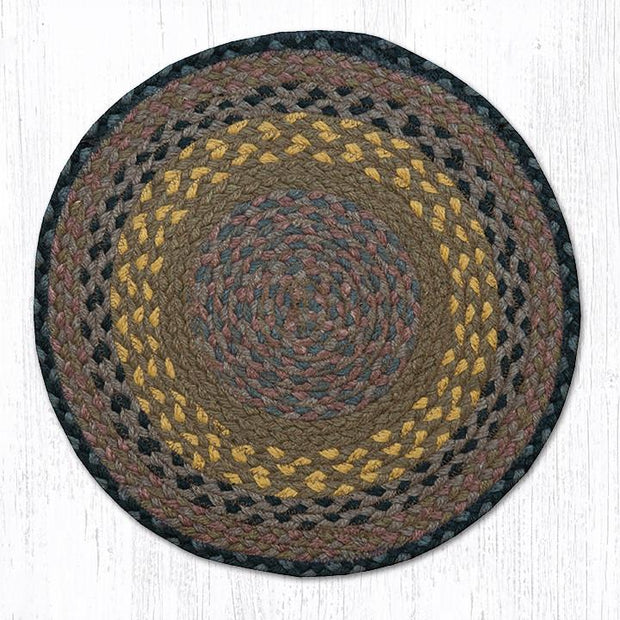 Capitol Earth Rugs Braided Jute Chair Pad, Brown/Black/Charcoal
