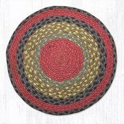 Capitol Earth Rugs Braided Jute Chair Pad, Burgundy/Olive/Charcoal