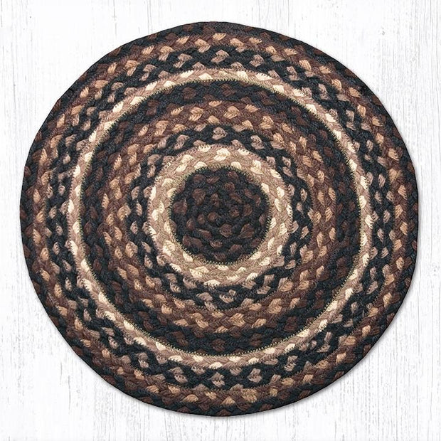 Capitol Earth Rugs Braided Jute Chair Pad, Mocha/Frappuccino