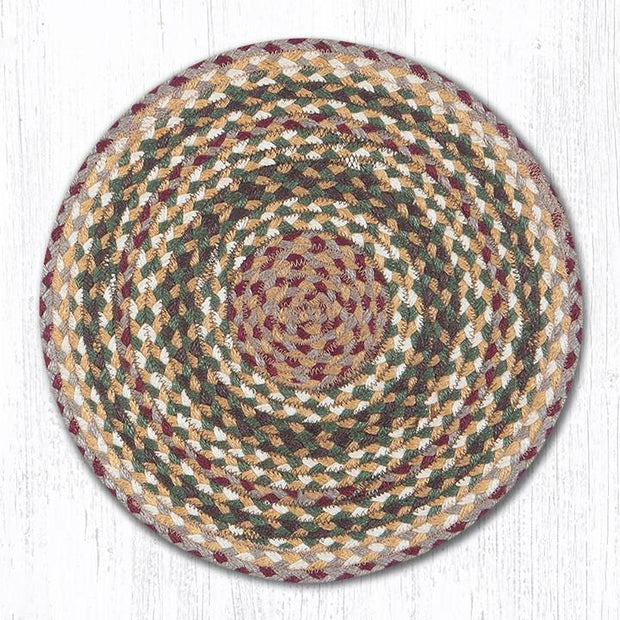 Capitol Earth Rugs Braided Jute Chair Pad, Olive/Burgundy/Grey