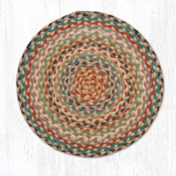 Capitol Earth Rugs Braided Jute Chair Pad, Multi-Color