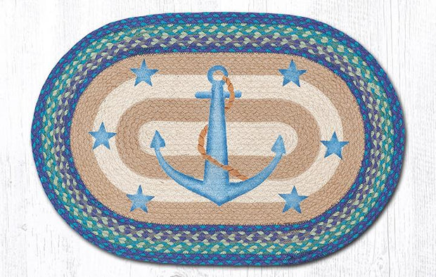 Capitol Earth Rugs Anchor & Stars Oval Patch Rug