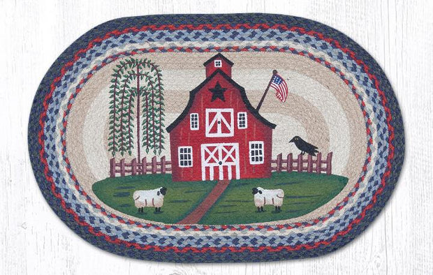 "Capitol Earth Rugs Barn Scene Oval Patch Rug, 20"" x 30"""