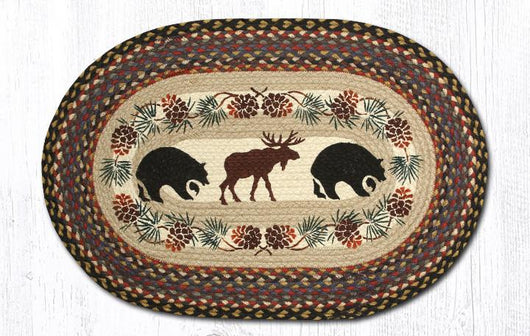 Capitol Earth Rugs Bear & Moose Oval Patch Rug, 20