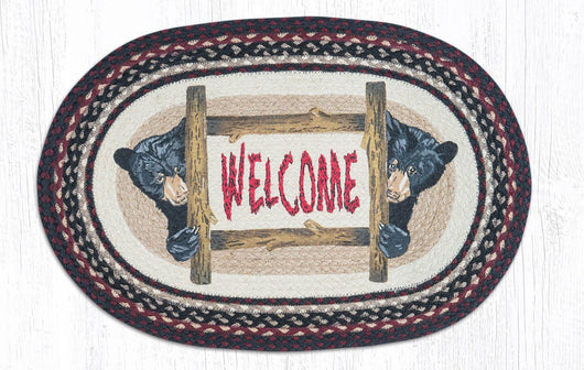 Capitol Earth Rugs Bear Welcome Oval Patch Rug, 20