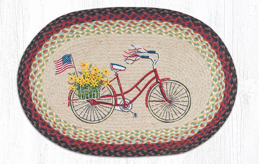 Bicycle with Flag Oval Patch Rug