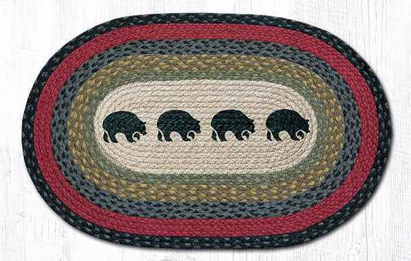 "Capitol Earth Rugs Four Black Bears Oval Patch Rug, 20"" x 30"""