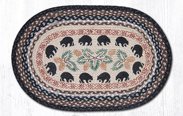 Black Bears Patch Rug - Oval