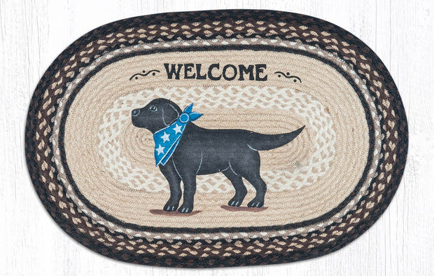 "Capitol Earth Rugs Black Lab Welcome Oval Patch Rug, 20"" x 30"""