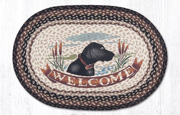 "Capitol Earth Rugs Welcome Dog Oval Patch Rug, 20"" x 30"""