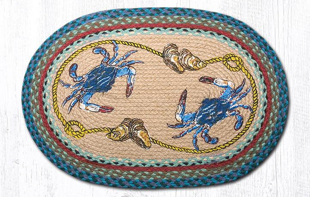 Blue Crab Oval Patch Rug