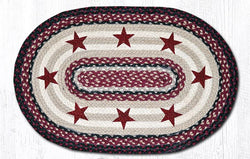 Capitol Earth Rugs Burgundy Stars on Navy Oval Patch Rug