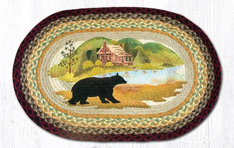 Capitol Earth Rugs Cabin Bear Oval Patch Rug, 20