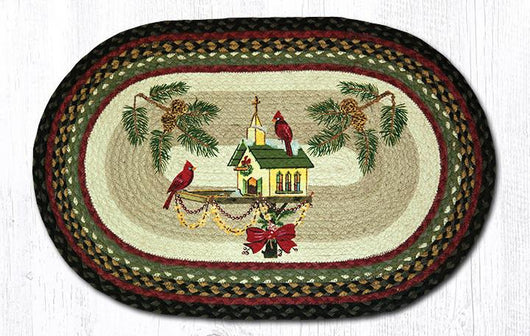 Capitol Earth Rugs Christmas Birdhouse Oval Patch Rug, 20