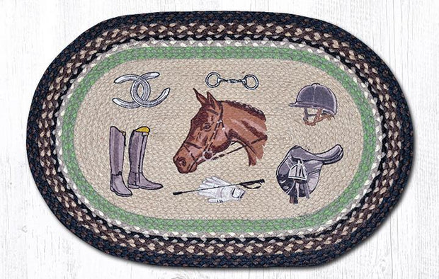 "Capitol Earth Rugs Equestrian Oval Patch Rug, 20"" x 30"""