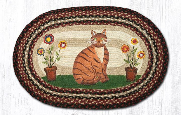 Folk Art Cat Oval Patch Rug