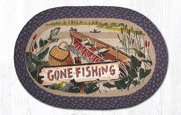 "Capitol Earth Rugs Gone Fishing Oval Patch Rug, 20"" x 30"""