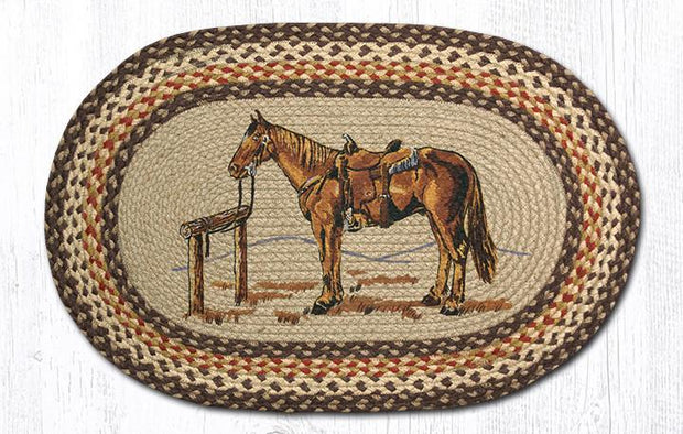 "Capitol Earth Rugs Horse Oval Patch Rug, 20"" x 30"""