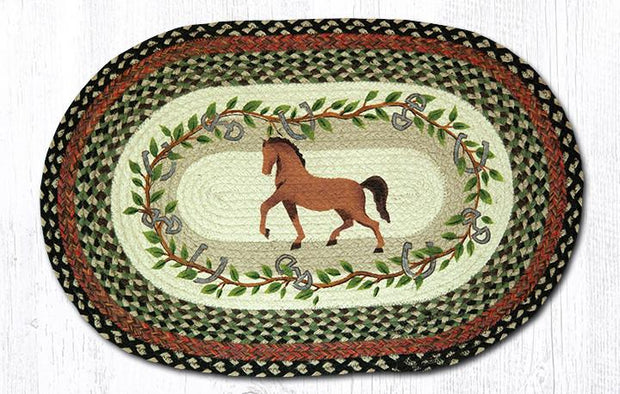 "Capitol Earth Rugs Horse Oak Leaf Oval Patch Rug, 20"" x 30"""