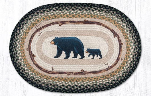 Capitol Earth Rugs Mama and Baby Bear Oval Patch Rug, 20