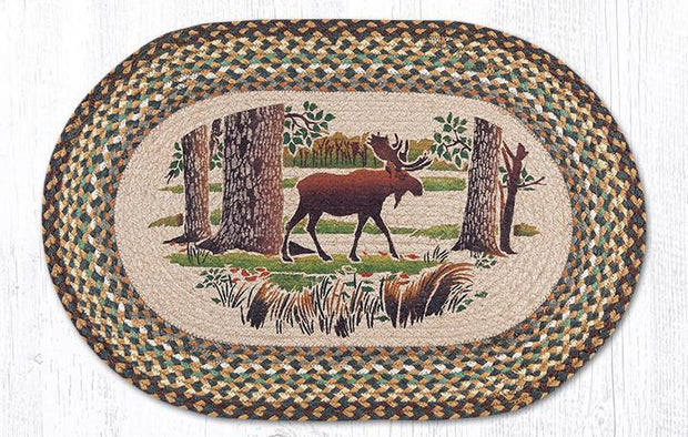 "Capitol Earth Rugs Moose Forest Oval Patch Rug, 20"" x 30"""