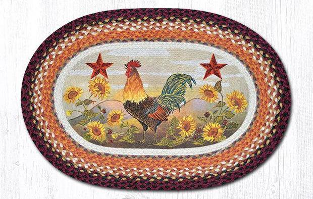 "Capitol Earth Rugs Morning Rooster Oval Patch Rug, 20"" x 30"""