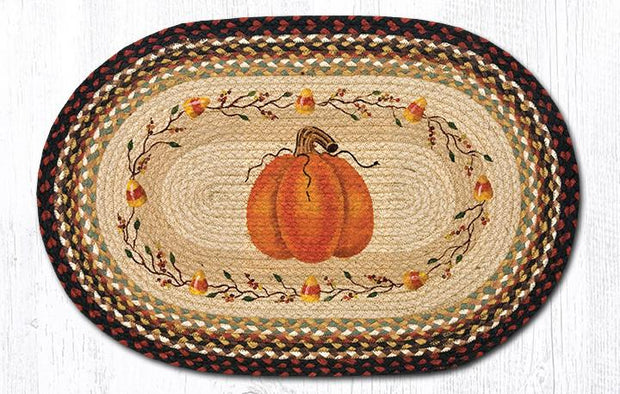 "Capitol Earth Rugs Pumpkin Candy Corn Oval Patch Rug, 20"" x 30"""