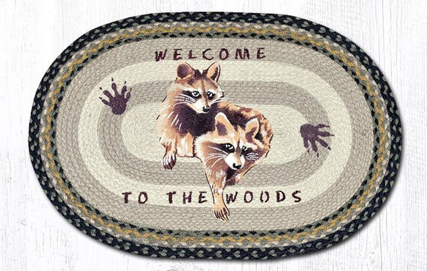 "Capitol Earth Rugs Raccoon Welcome Oval Patch Rug, 20"" x 30"""